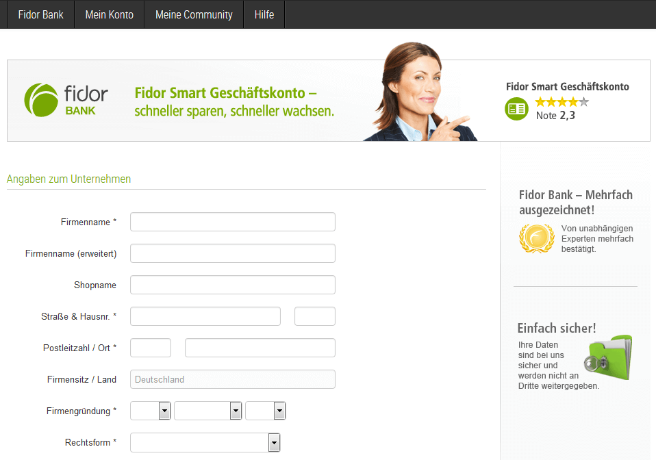 Fidor Smart Konto Formular ausfüllen