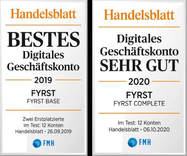 FYRST Testsiegel Handelsblatt 2020
